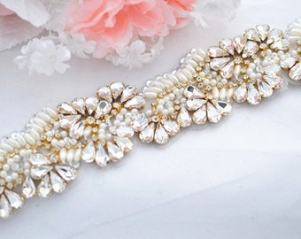 SALE GOLD Wedding bridal crystal pearl sash , belt , rhinestone & pearl belt