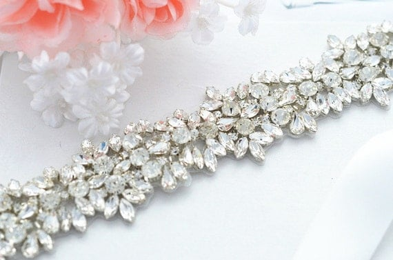SALE JASMINE SWARVOSKI wedding crystal sash , belt
