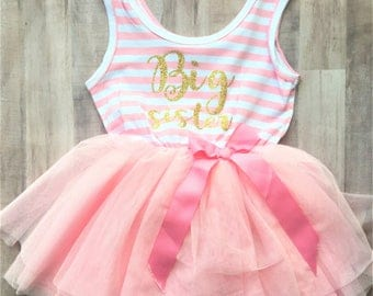 Big Sister Tutu Dress / Custom Sister Dress, Custom Birthday Dress, gender reveal, sibling shirts, pregnancy announcement