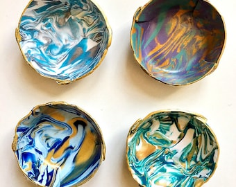 Marbled Ring Dish - Set of 4 - Bridesmaid Gift - Polymer Clay Bowl - Jewelry Dish  - Tealight holder - Hostess Gift