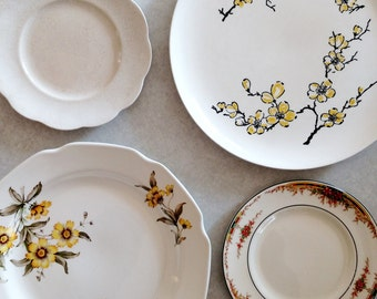 Yellow & White Vintage Plate Wall Decor Set - Price Reduced!
