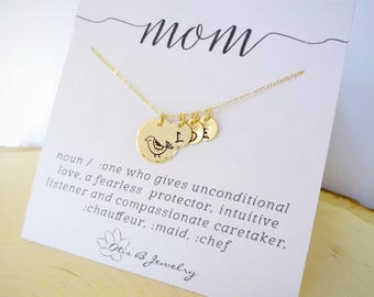Mothers day gift idea, Mama bird charm necklace, personalized mothers necklace, gift for mom, mother of the bride, mother of the groom gift