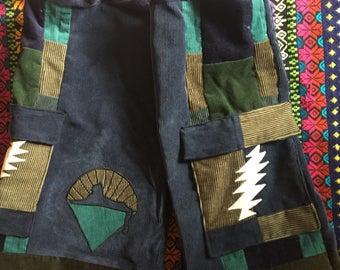 Grateful Dead patchwork lightning bolt Cats Under the Stars shorts