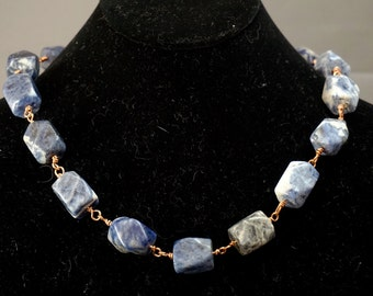 Sodalite Chunk Necklace with Copper