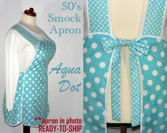 50s Smock Apron - Aqua Dot - vintage style apron - all day work apron, READY TO SHIP pullover style