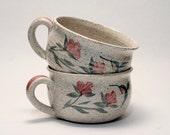 Landfair Studio (Bill or Sharon) Pottery Flowers & Hummingbird - Oversized Mug or Soup Bowls Signed Ceramics NH or CT