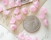 Frosted Lucite Flower Bead Caps. Lot of 20 Pink Bell Flowers. 10mm x 6mm Acrylic Lucite Flowers. Jewelry, Crafts, Destash Supplies Sale.