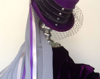 Purple & dove grey Victorian Steampunk wedding top hat
