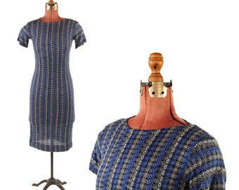 Vintage 1960's Soft Acrylic + Rayon Knit Hourglass Mid Century Blue Silver Diamond Novelty Print Dress S