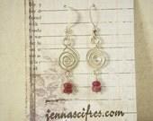 Ruby and Sterling Silver Earrings - July Birthstone - Genuine Ruby Gemstones - Silver Spiral Earrings