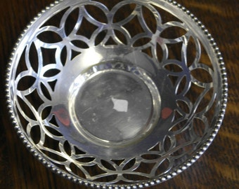 vintage silver plate fret work small bowl