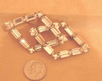 Vintage Diamond Shaped Rhinestone Baguette Brooch Pin 1940's Jewelry 2266