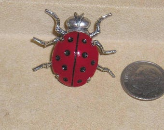 Vintage Signed Beau Sterling Silver Adorable Red Enamel Lady Bug Pin Brooch 1960's Jewelry H38