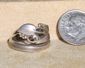 Vintage Signed Sterling Silver Art Nouveau Spoon Ring 1920's Size 5 1/2 Jewelry H22