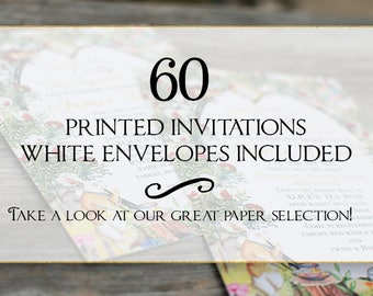 Set of 60 printed invitations/cards- White envelopes included