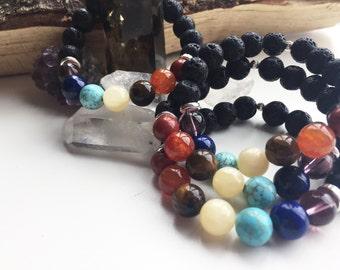 Oil diffuser lava chakra gemstone bracelet