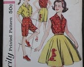 60off Sale Simplicity 3456 1960s 60s Girls Bermuda Shorts Poodle Skirt Button Shirt Vintage Sewing Pattern Size Girls 10 years