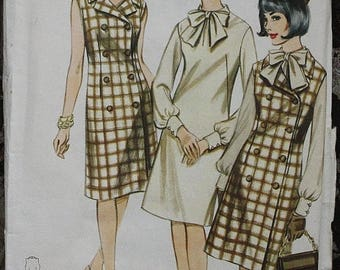 60off Sale Butterick 3325 1960s 60s Double Breasted Sheath Mod Dress Vintage Sewing Pattern Size 12 Bust 32