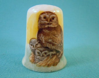 Thimble Bone China with Family of Owls