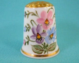 HAND PAINTED Bone China Thimble with Violets