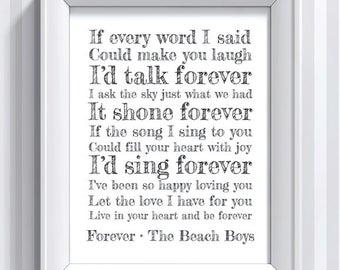 The Beach Boys Lyrics - Forever - 11x14 - poster print