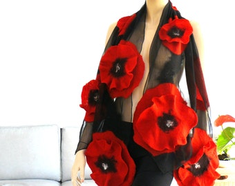 Nuno felted shawl - florals scarf - wool and silk - red and black felt spring fashion
