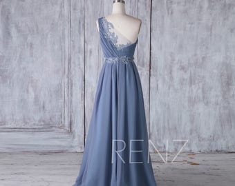 2017 Steel Blue Chiffon Bridesmaid Dress with Lace, One Shoulder Ruched Bodice Wedding Dress, A Line Ball Gown Full Length (H437)