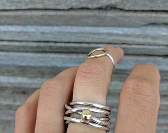 Sterling silver and 9ct yellow gold blob tangled ring size R 1/2