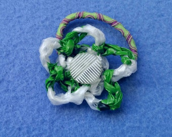 Green, White, and Purple Plarn Flower Ponytail Holder with Vintage Button, upcycled recycled plastic bags, hair tie