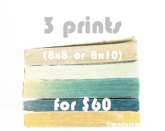 Prints ON SALE - 3 prints (8x8 or 8x10), photos of old books, vintage books, book piles, stacks of books, Scandinavian style decor, deal