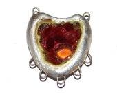 Ceramic Heart Pendant Rustic Stoneware Handmade Destash Fine Silver