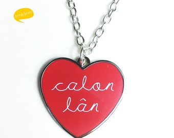 Red Heart Calon Lân Cloisonne Necklace Welsh Pure Heart