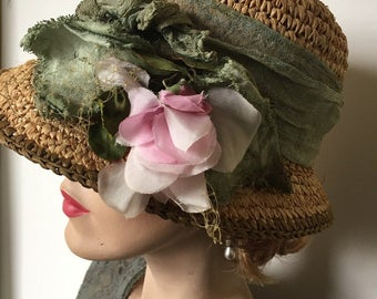 Summer straw 20's cloche with detachable nosegay for golf, garden hat or Downton Abbey event
