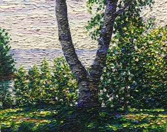 """Original Impressionist style Impasto oil painting by Michigan artist 11x14 """"Morning at the Campsite"""""""