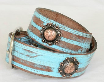 "Turquoise Leather Dog Collar, Turquoise  Western Dog Collar, Custom Leather Dog Collar, Sizes 17"" -19"""