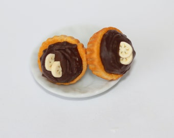 Cupcake Earrings - Chocolate Pie Earrings - Chocolate Banana Pastry Earrings -  food Earrings - Miniature Food Jewelry - Pie Stud Earrings