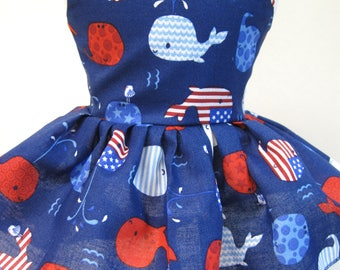Patriotic Whales, Sleeveless Dress for your 18 Inch Doll A