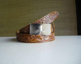 "Vintage tooled Rockmount Ranch Wear Western Belt / Hand finished saddle leather size 29"" - 32"" / silver metal buckle"