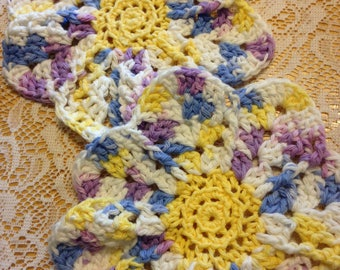 "Set of 2 ""Blooming Flower"" Crocheted Dishcloth _ Washcloth _ Hot Pad"