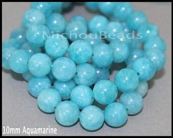 "15"" Strand 10mm AQUAMARINE Gemstone Bead - Round Natural Dyed Gemstone Semi Precious Beads - Instant Shipping - DIY Jewelry Usa - 6955"