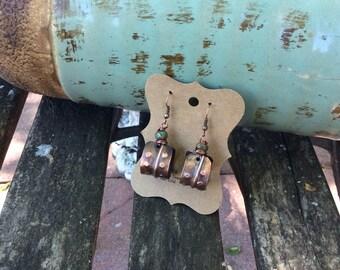 Rustic Boho Copper Earrings, Stamped Copper Earrings
