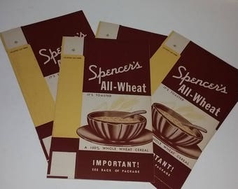 1 All Wheat cereal box package brown tan color illustration NOS unused Vintage supplies old advertising ephemera