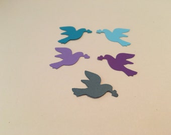 50 Medium Hand Punched  dove Die cutsmulti colors for Confetti, Birthday party decorations,Invitations,scrapbooking, cards