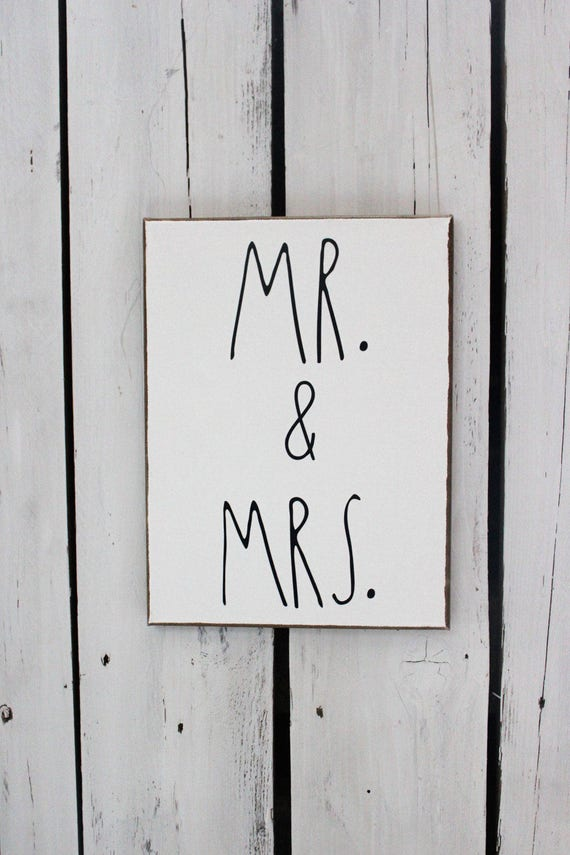 MR. & MRS. Wood and Canvas Wall Art Signs for your Rae Dunn Collection