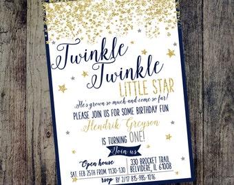 Boy Twinkle Twinkle Little Star, Navy Blue Birthday Invitation, Glitter Birthday Invitation, Sparkle Birthday Invitation