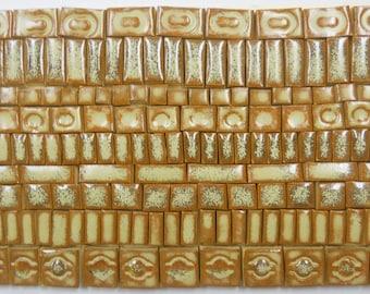 150+ Handmade Mosaic Tile Pieces Ceramic Stoneware  Rusty Beige Brown Earth Tones Craft Tile Assortment #2