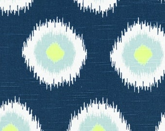 1 Yard Canal Green and Blue Ikat Dot Fabric - Premier Prints Fabric - Light Blue, Lime Green and White - Fabric by the Yard