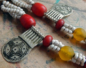 MOROCCAN Berber Pendant Necklace; African Goomba Beads; Recycled Krobo Beads Ghana; Extra Long Statement Necklace; Red Venetian Trade Beads.