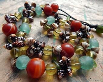 BEADED Necklace; Colourful; Semi-Precious Stones; Inspired by Moroccan Souk; Shell Beads; Glass Krobo Beads Ghana; Boho Wedding Trade Beads.