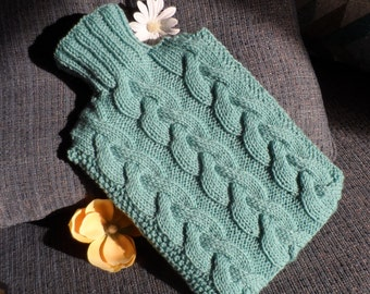Hand Knitted  Sage Green Cabled Hot Water Bottle Cover/Cozy/Cosy